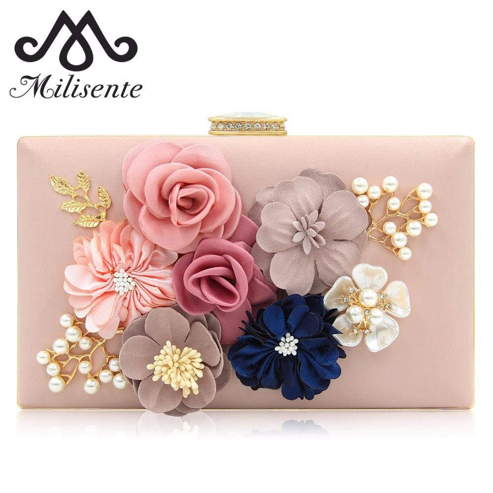 Milisente Women Clutch Lady Flower Day Clutches Female Wedding Clutch Purses Flower Bag