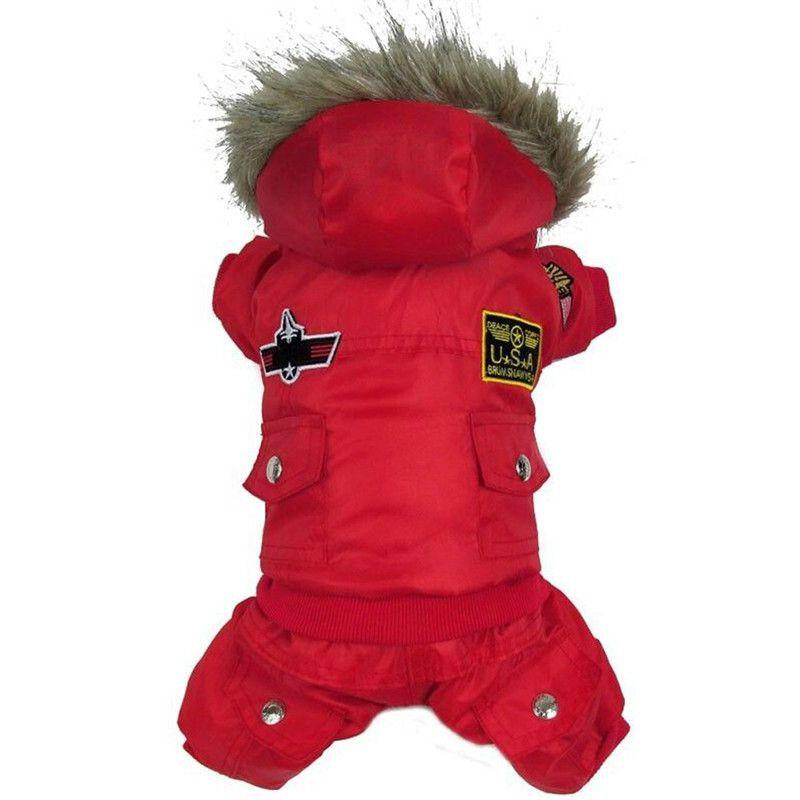 Haute qualité chien chiot hiver veste manteau USA AIR FORCE hiver vêtements animaux animaux chat à capuche chaud combinaison pantalon vêtements