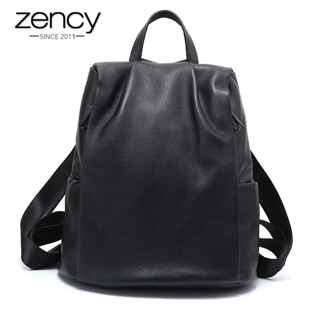 Zency New Black Women Backpack 100% Genuine Leather Practical Travel Bag Big Schoolbag For Girls Fashion Female Knapsack Laptop