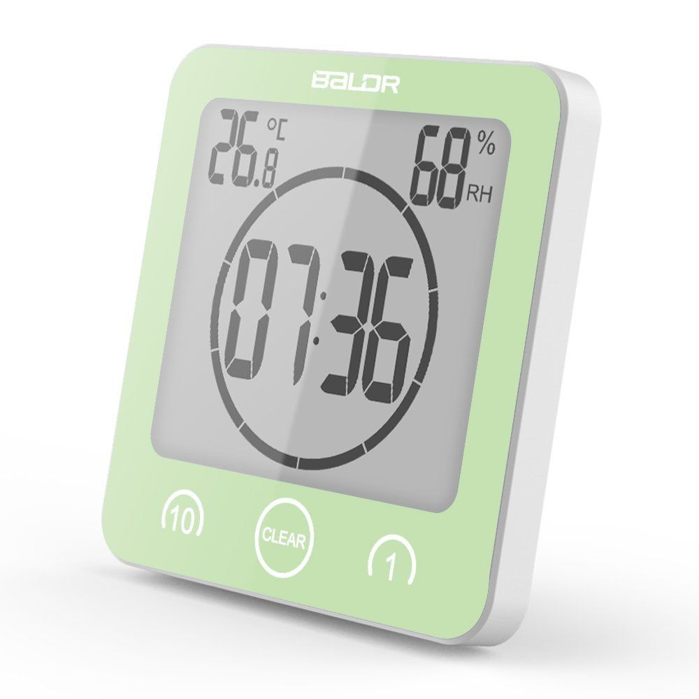 10 minute increments digital timer alarm clock with suction cup for easy wall mounting and kick-out stand for tabletop placement