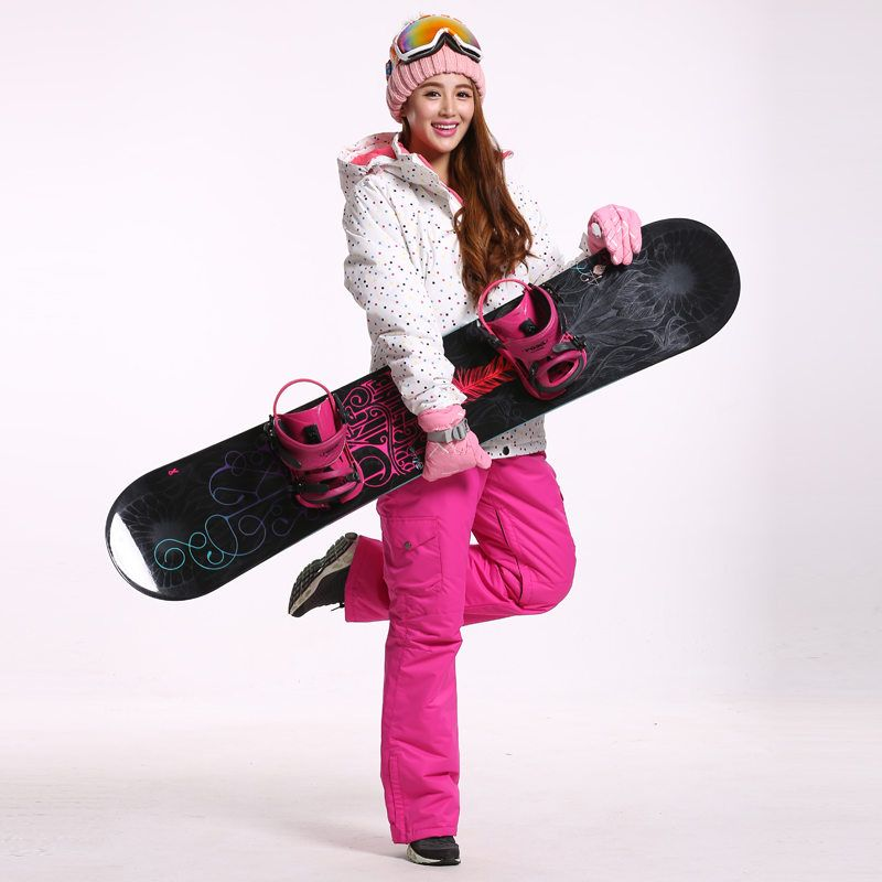 White Dot Snow Suit jackets Women Snowboard Clothes Winter Waterproof Thicken Costumes Outdoor Ski Suit Sets Jacket +bibs Pants