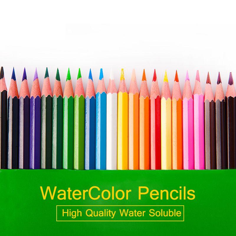 12 18 24 36 Couleurs Ensemble Soluble dans L'eau Aquarelle Crayons Coffre-Fort Non-toxique Crayons de couleur Pour Art Dessin Lapices de colores lapis