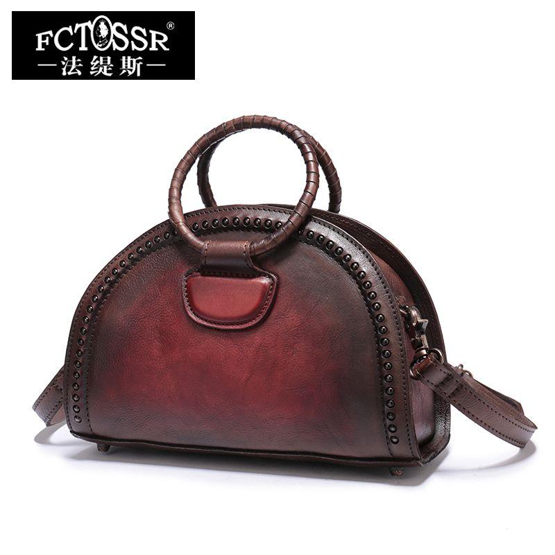2018 Natural Leather Handbags Vintage Rivet Women Shoulder Bags Handmade Cowhide Messenger Bags Handbag