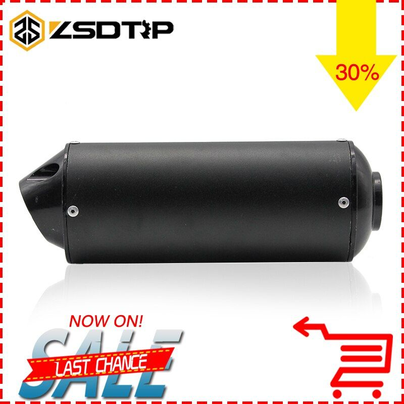 ZSDTRP 28mm 38mm Black Silver Universal Motocross Motorcycle Exhaust Muffler Tip Pipe for 125 150 160cc Dirt Pit Bike ATV CQR
