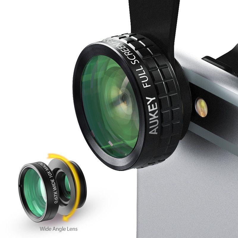 AUKEY 180 Degrés Fisheye + Grand Angle + Macro Lentille 3in 1 Clip-sur la Cellule Téléphone Caméra Fish eye Objectif pour Xiaomi et d'autres dispositif
