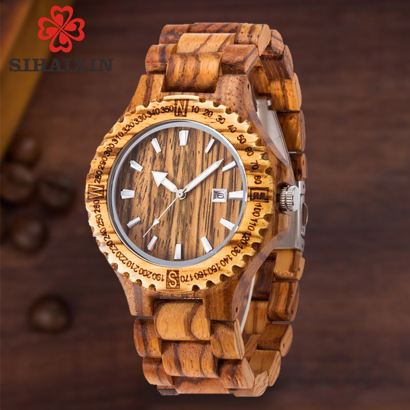 men wooden watch 2018 quartz wrist watches with sandalwood strap Calendar clock male luxury brand sport watch with gift box