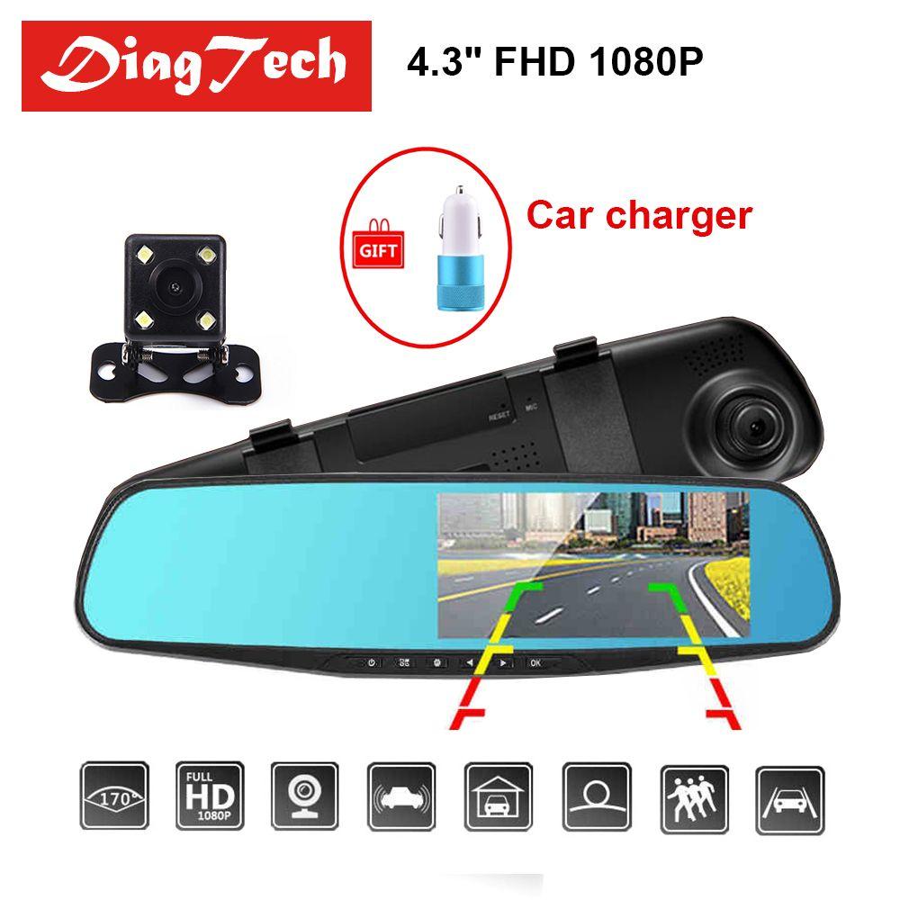 Gryan 4.3'' Car Rearview Mirror Car Dvr Camera HD 1080P Rear View Mirror Digital Video Recorder Dual Lens Auto Dash Cam