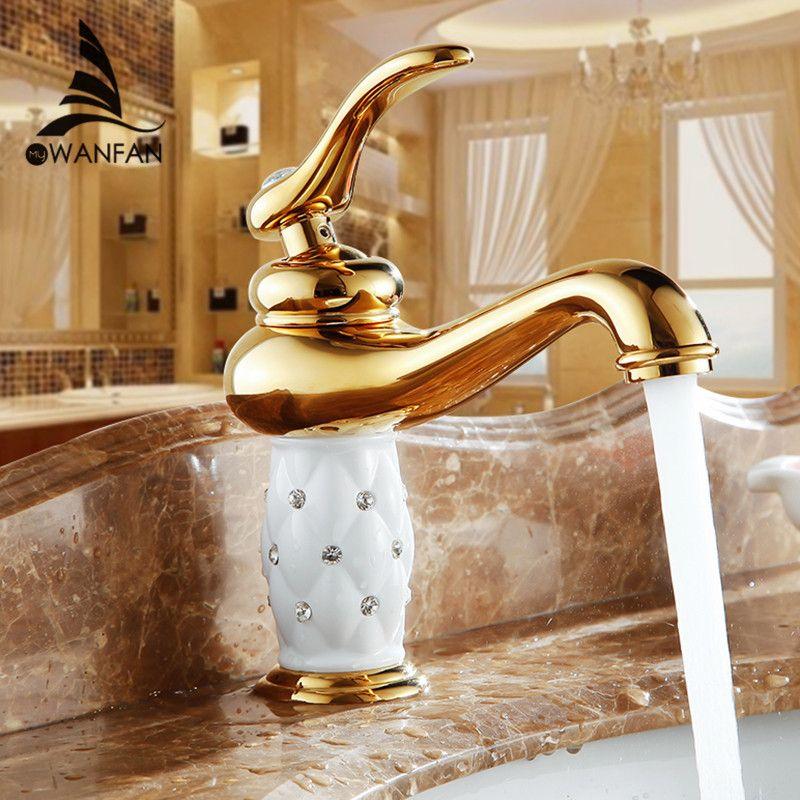 Becken Armaturen Messing mit Diamant Bad Wasserhahn Gold Mischbatterie Einzigen Handgriff Hot & Cold Waschbecken Wasserhahn torneiras banheiro 7301 karat