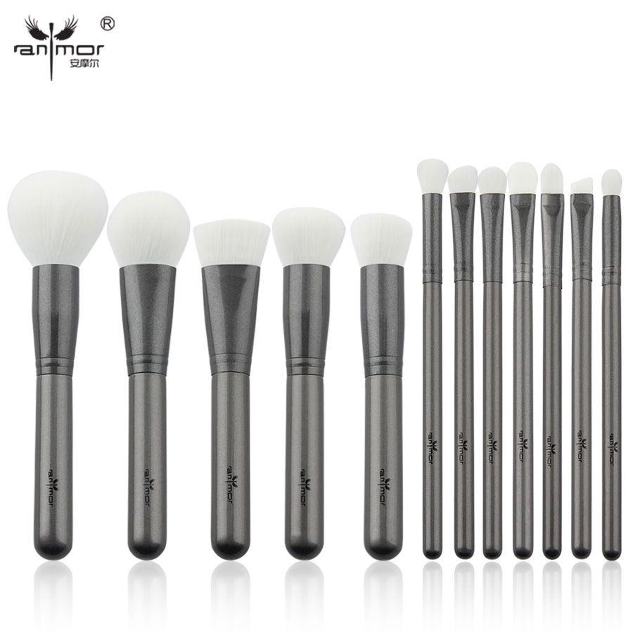 Anmor Professionnel Maquillage Brosses 12 pcs Synthétique Maquillage Pinceaux de Doux Poudre fondation Fard À Paupières Eyeliner Sourcils Kit