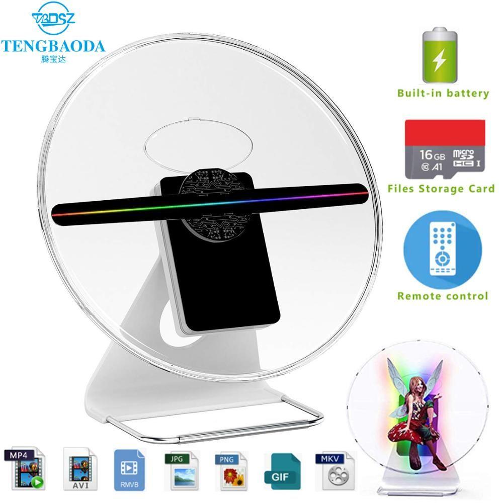 TBDSZ 30cm 3D werbung hologramm fan Projektor licht display holographische wiederaufladbare Desktop hologramm 16GB 256 LED Lampe perlen