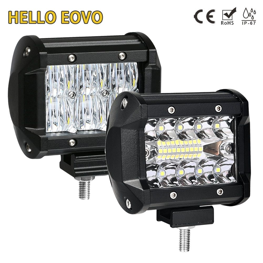 HELLO EOVO 4 inch LED Bar LED Work Light Bar for Indicators Motorcycle Driving Offroad Boat Car Tractor Truck 4x4 SUV ATV 12V