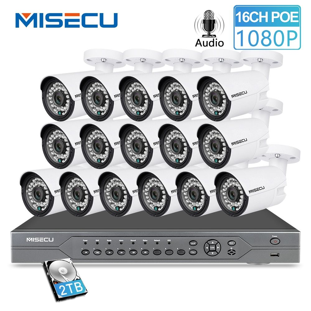 MISECU H.265 16CH 2MP 5MP POE NVR CCTV Sicherheit System 16PCS IR Outdoor 1080P Audio Record P2P Outdoor video Überwachung Kit