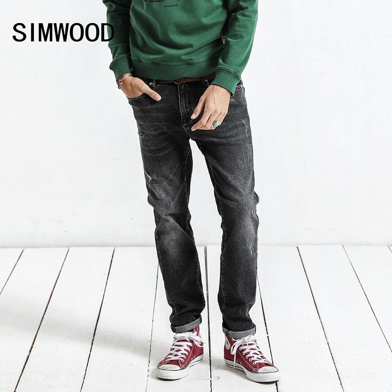 Simwood 2018 ВЕСНА Новинка зимы Джинсы для женщин Для мужчин Slim Fit модные рваные джинсовые узкие рваные Мотобрюки плюс Размеры Повседневное nc017015