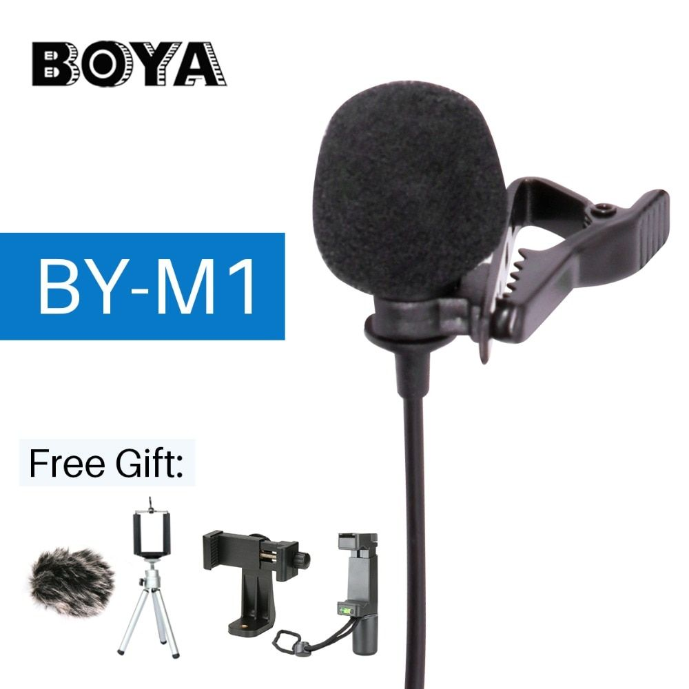 BOYA BY-M1 Lavalier Audio Video Microphone Clip-On Condenser Mic Recorder for <font><b>iPhone</b></font> X 8 Pkus Canon Nikon DSLR Zoom Camcorder
