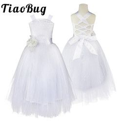 2-14 Teenage Kids Flower Girls Dress for Party and Wedding Floral Girl Dress Ball Gown Prom Crossed Back Formal Maxi Dress