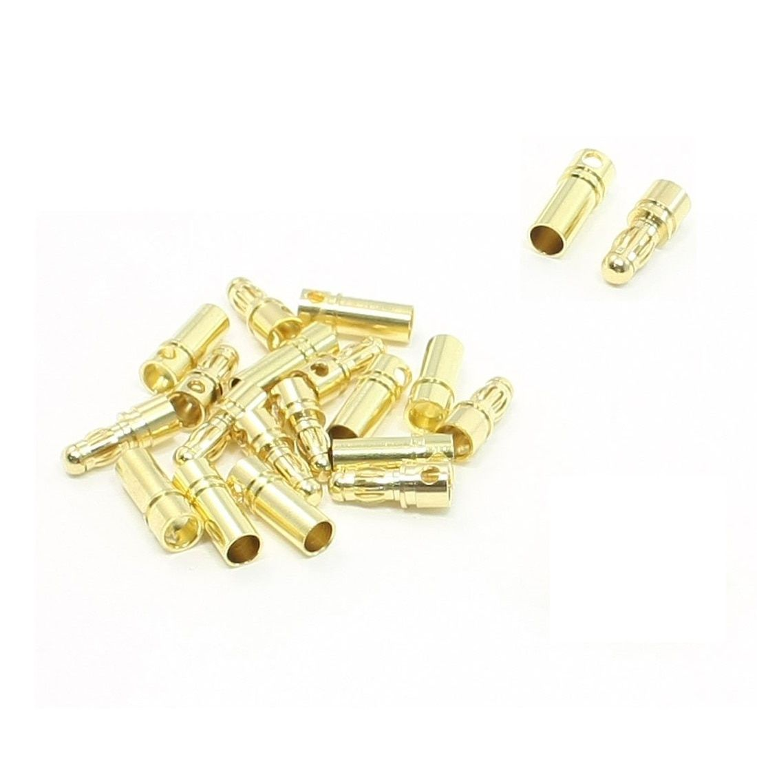 Professional 10 Pairs Gold Tone Metal Banana Bullet Plug Male Female Connector 3.5mm
