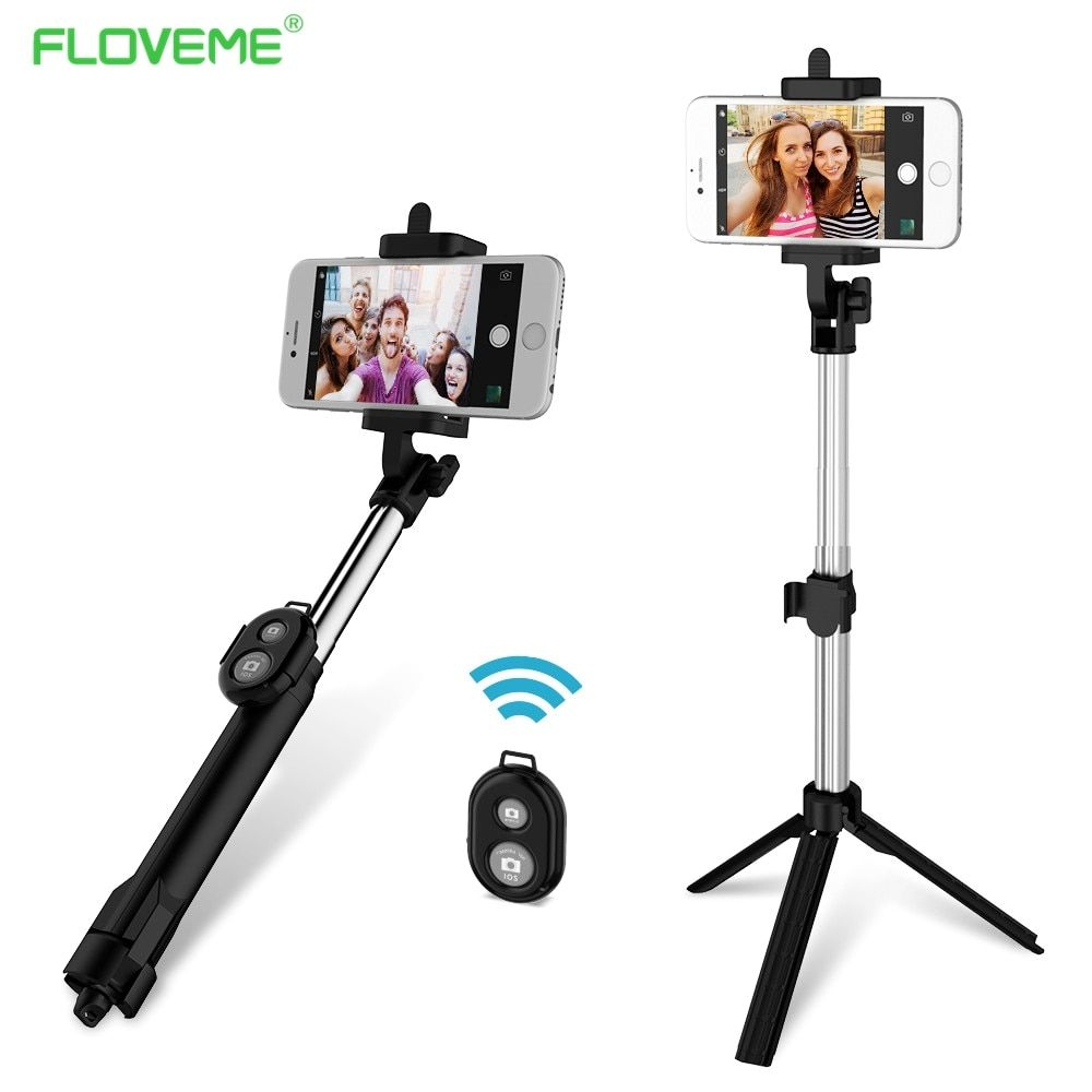 FLOVEME Foldable Mini Selfie Stick Self Bluetooth Selfie Stick+Tripod+Bluetooth Shutter Remote Controller for iPhone Android