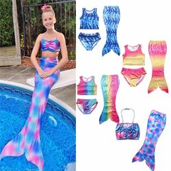 3 Pcs Girls Rainbow Mermaid Tail Swimwear Bathing Suit Cosplay Costume Bikini Swimsuit Swimming Suits Swimmer Clothes