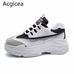 Size35-43 2019 г. Новая модная летняя женская обувь женская повседневная обувь женские спортивные черно-белые тотемные кроссовки на высокой платф...