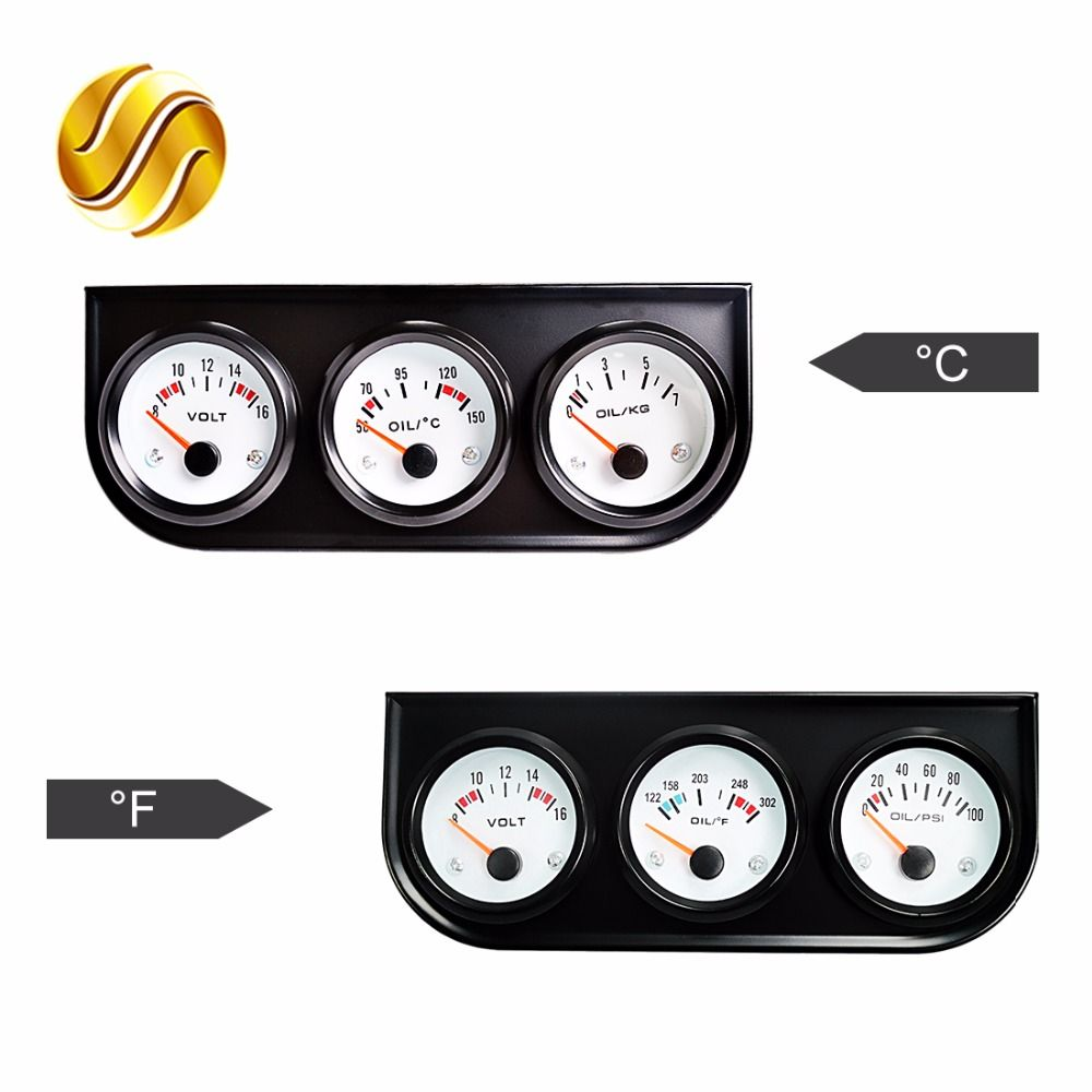 Dragon Gauge Car Triple Gauge Kit 52mm Voltage + Oil Temperature Celsius /Fahrenheit + Oil Press KG / PSI 3-In-1 Kit Black Bezel