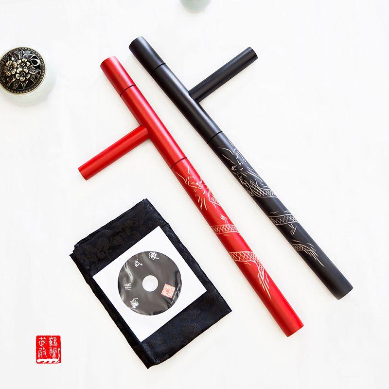 (2pcs/lot) T turn double Tonfa martial arts double Guaizi duckweed carving wood stick turn east turn red black wooden Tonfa