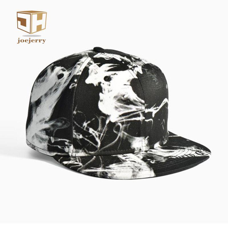 Joejerry tinta 3D impreso gorra de béisbol hip hop hombres mujeres SnapBack negro blanco casquillo plano graffiti tamaño ajustar