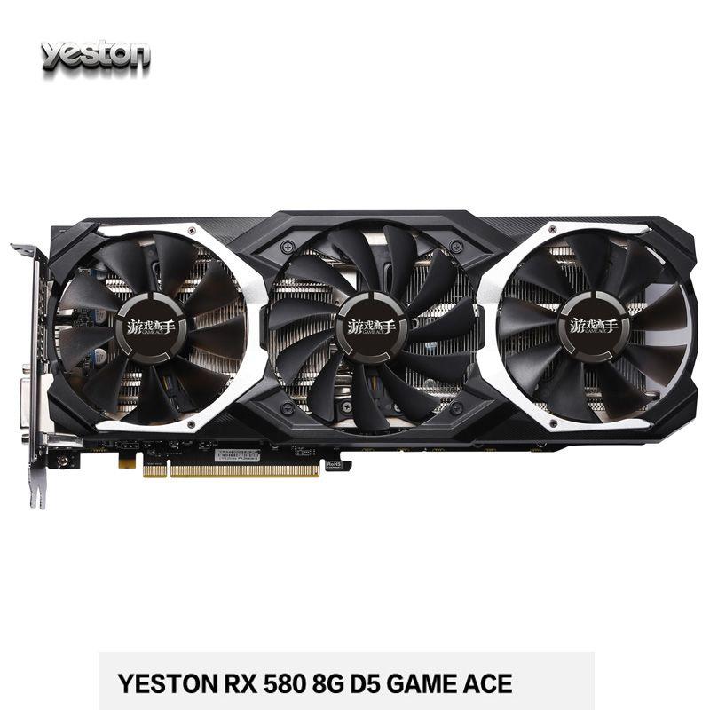 Neue Ankunft Yeston RX580 GPU 8G 256bit GDDR5 Grafikkarte Drei Fans 8000 MHz Unterstützung DP/HDMI/DVI PCI-E 3,0 Ideal Für Gaming