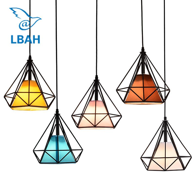 Free with led bulb colorful birdcage <font><b>pendant</b></font> lights iron retro light oft pyramid lamp metal cage with VDE best wire and holder