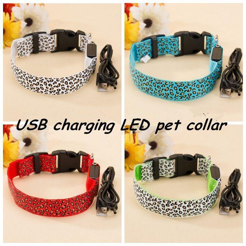 FE02 USB rechagérable collier de chien de compagnie LED en Nylon _ motif léopard colliers émettant de la lumière colliers de chien éclairés livraison gratuite