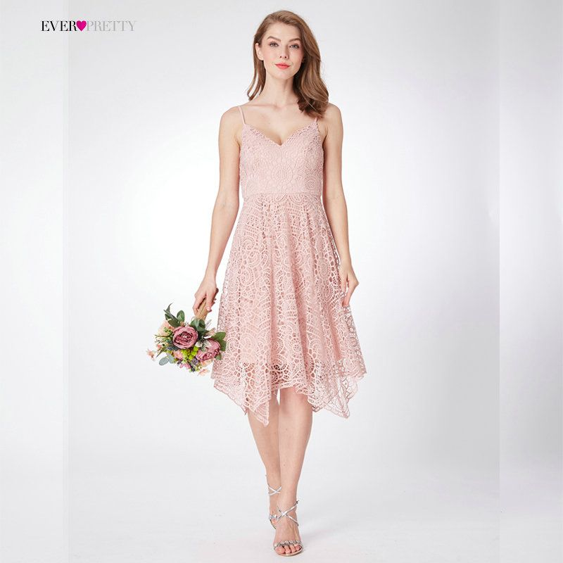 New Bridesmaid Dresses Ever Pretty EP04036 Women's 2018 A-line Lace Pink Spaghetti Straps Backless V Neck Cheap Party Dresses