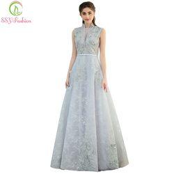 SSYFashion Neue Abendkleid Die Braut Bankett Elegante Grau Spitze Blume Boden-länge Lange Party Kleid Nach Maß Formale kleider