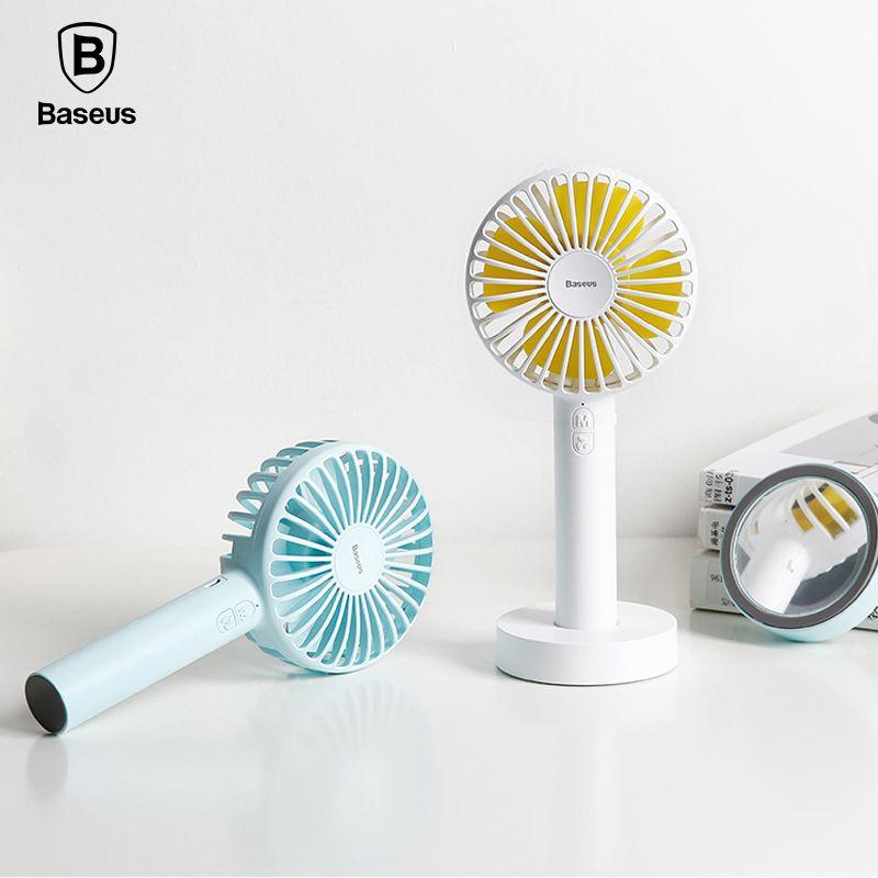 Baseus 2600Amh Rechargeable Battery Fan <font><b>Office</b></font> Home Outdoor Portable Mini Handheld Fan 3-Speed Adjustable Desktop Cooling Fan