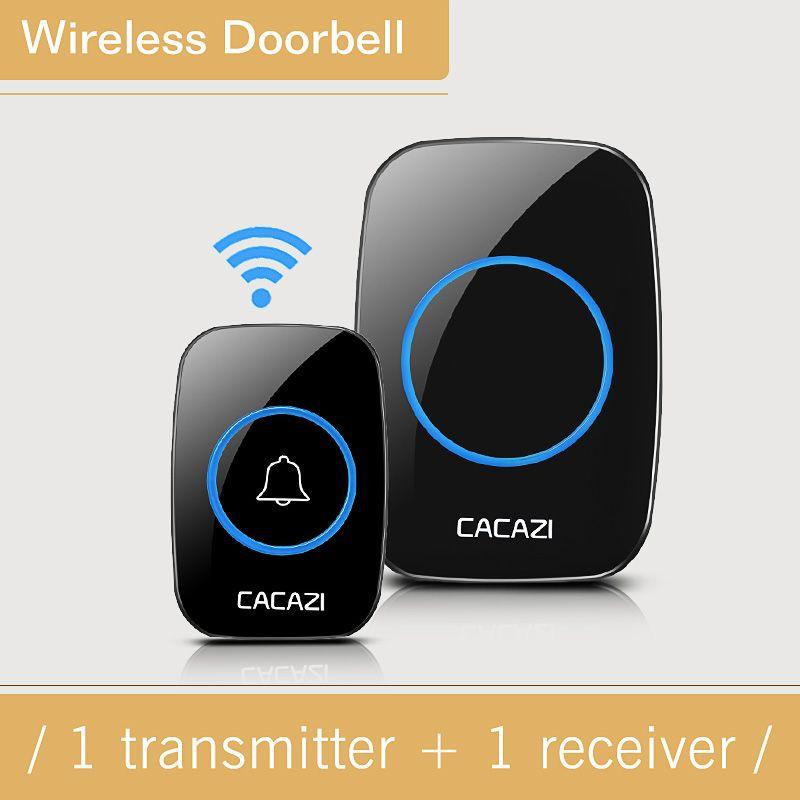 CACAZI  White wireless doorbell waterproof 300M range door bell low price high quality 1 Outdoor Transmitters 1 Indoor receiver