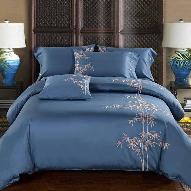 Coton égyptien broderie luxe Oriental literie ensemble roi reine taille lit ensemble café bleu housse de couette drap de lit parrure de lit