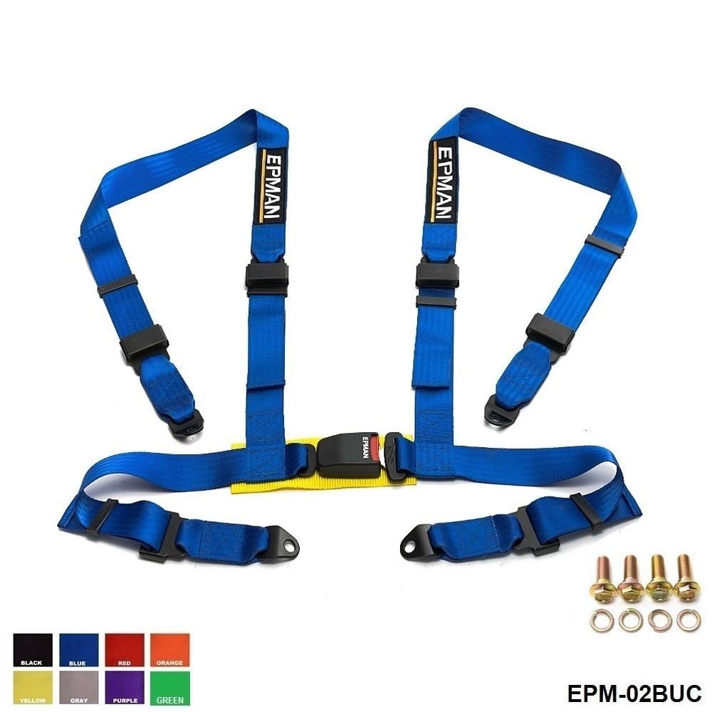 Seat Belts 2 inches 4 Point  Buckle  Nylon Strap Safety Harness Universal  EPM-02BUC-AF