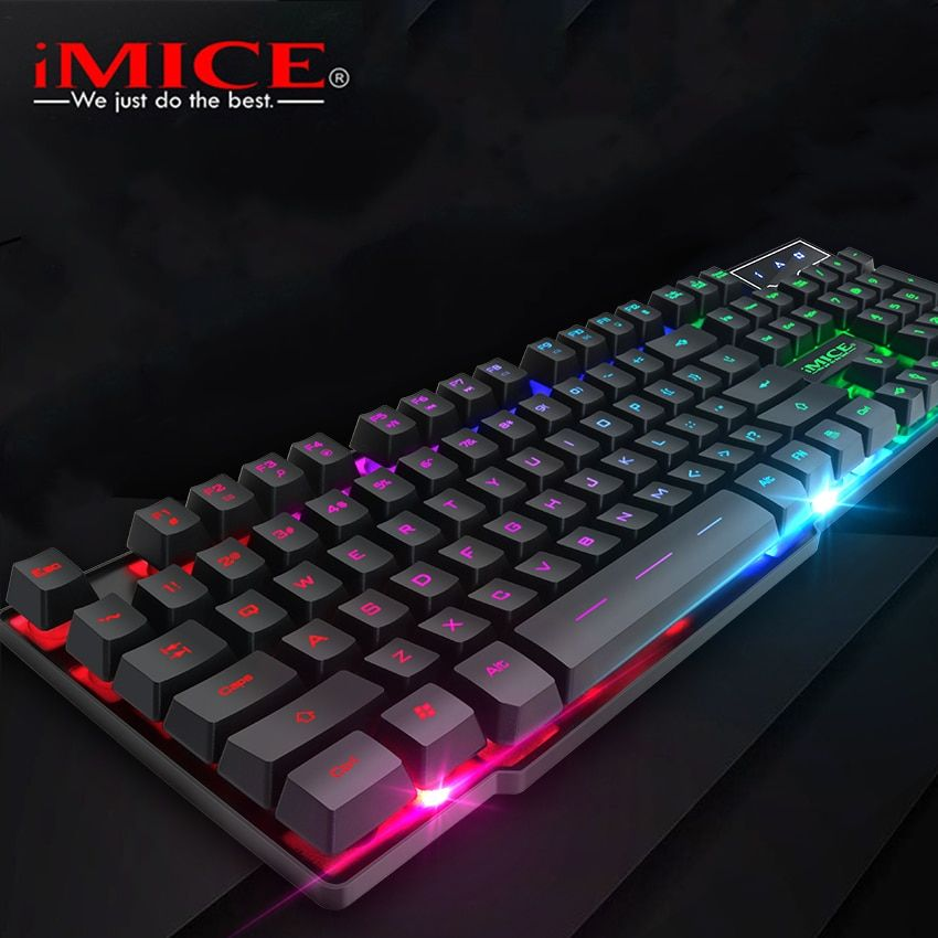 iMice Gaming Keyboard with Backlight Gamer Keyboard 104 Keys Mechanical Feel Game Backlit Keyboards Russian English for Computer