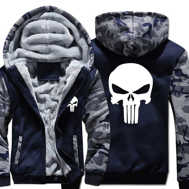 Размер США Новое Каратель Толстовки теплый мужской пальто Куртки повседневные толстовки зимние Для мужчин утолщаются супергерой молнии то...