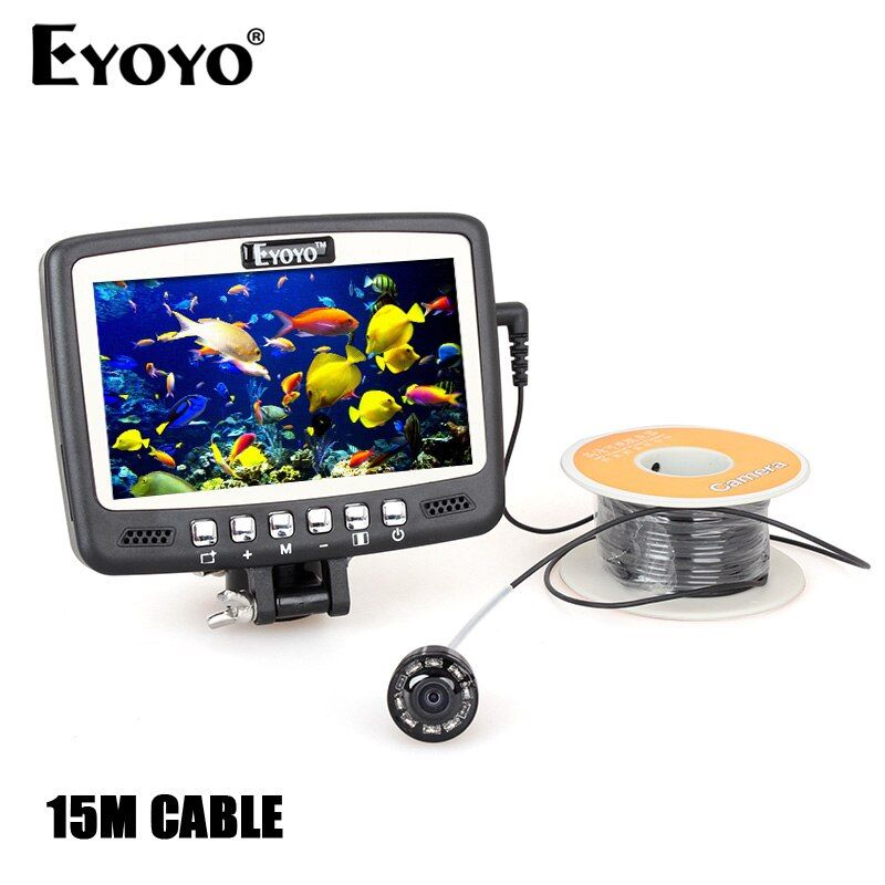 Eyoyo Original 1000TVL Underwater Ice Fishing Camera Fish Finder 15m Cable 4.3'' Color LCD Monitor 8pcs IR LED