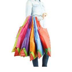 Hot Eco Storage Handbag Strawberry Foldable Shopping Bags Reusable Folding Grocery Nylon Large Bag 8 colors