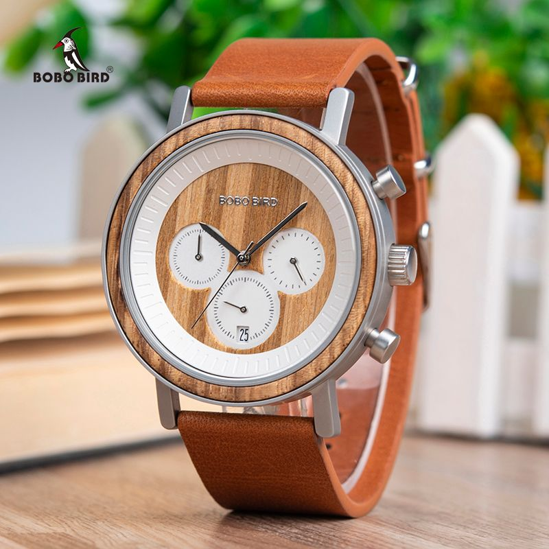 BOBO BIRD Chronograph Men Watches Stainless Steel Relogio Masculino Wooden Watch Women relojes para hombre in Wood Gift Box