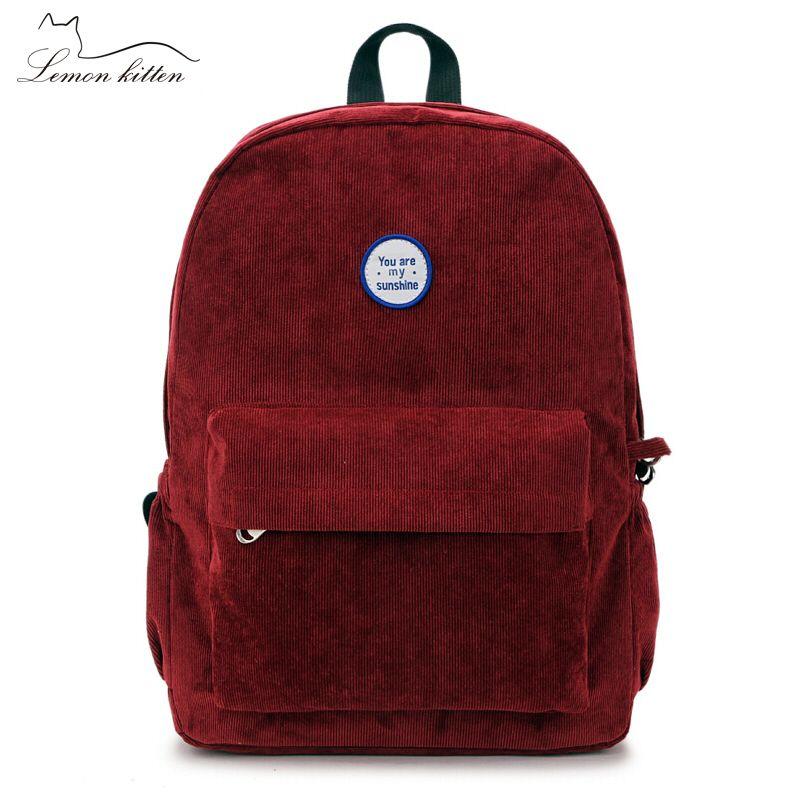 Lemon Kitten Retro Backpack For Women Girl Korean Simple Colour Mochila Escolar Women Backpack School Bag Female Rucksack