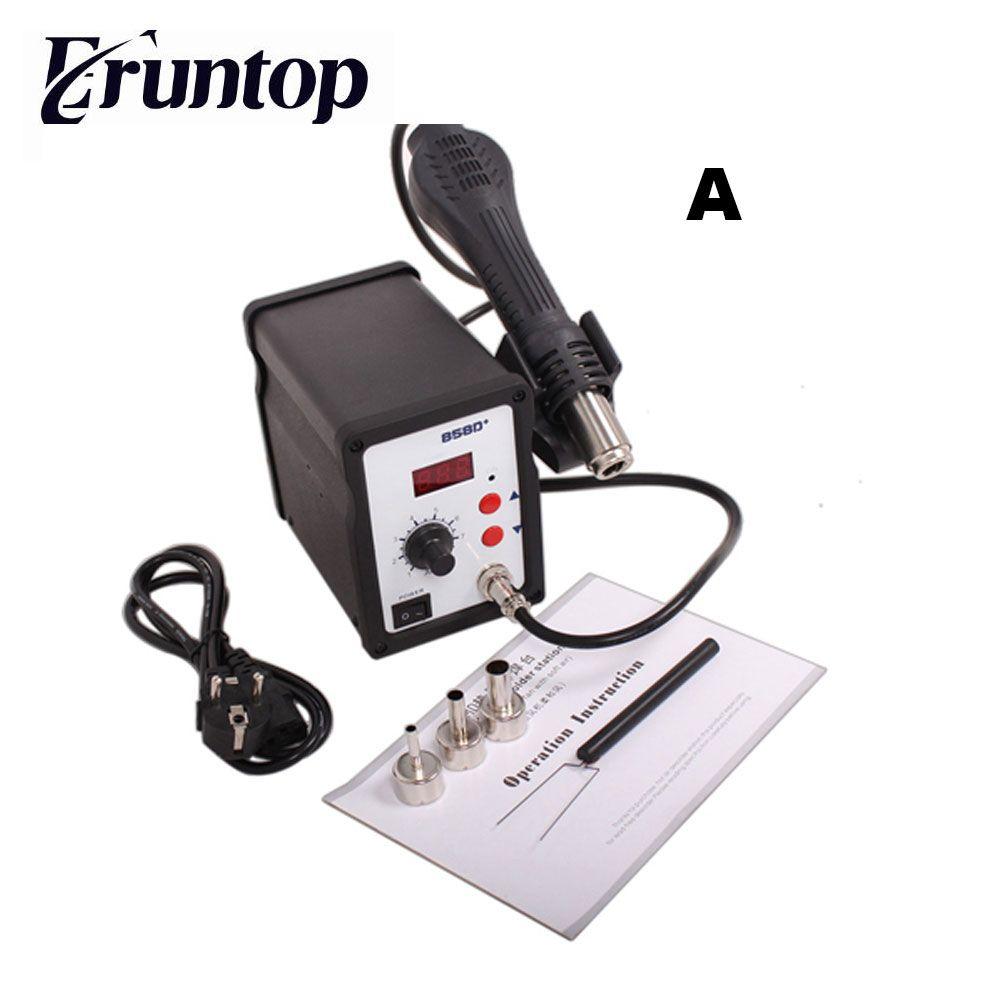 110V/220V 700W Eruntop 858D+ SMD ESD Soldering Station LED Digital Solder Iron Hot Air GUN Blowser