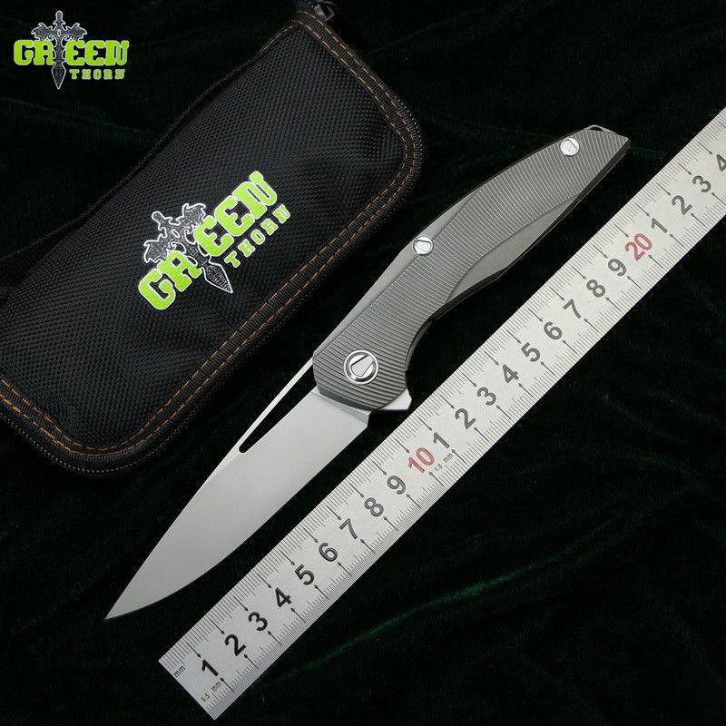 GREEN THORN Flipper F111 3D M390 blade Titanium handle Tactics folding knife outdoor camping hunting pocket fruit knive EDC tool