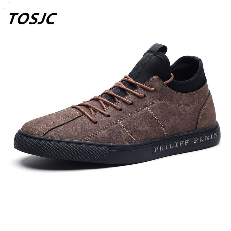 TOSJC 2018 Homme Casual Chaussures Low Top Lace Up Respirant Mode Vulcaniser Chaussures Brun Couleur Falt Chaussures En Plein Air Chaussures