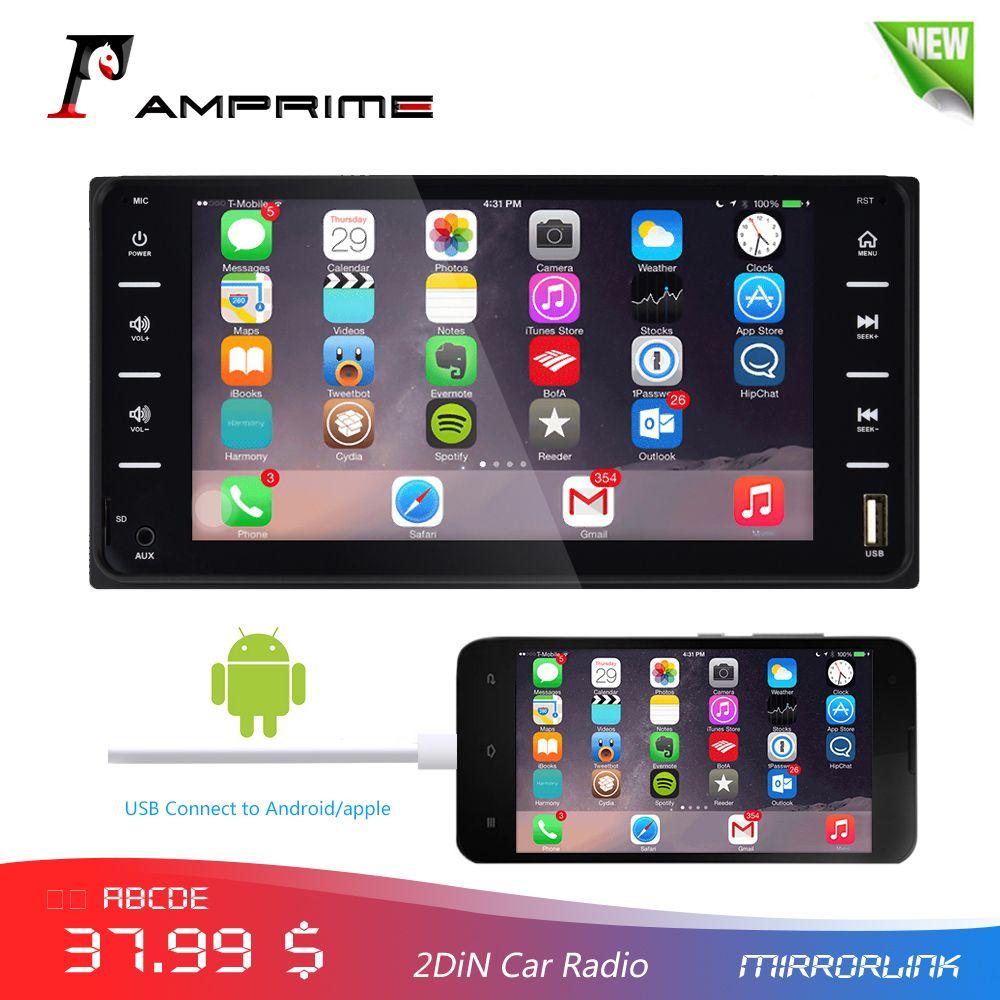 AMPrime 7 autoradio Audio Radio 2din ecran tactile voiture multimédia Bluetooth MirrorLink Android/IOS FM/AUX caméra arrière lecteur MP5