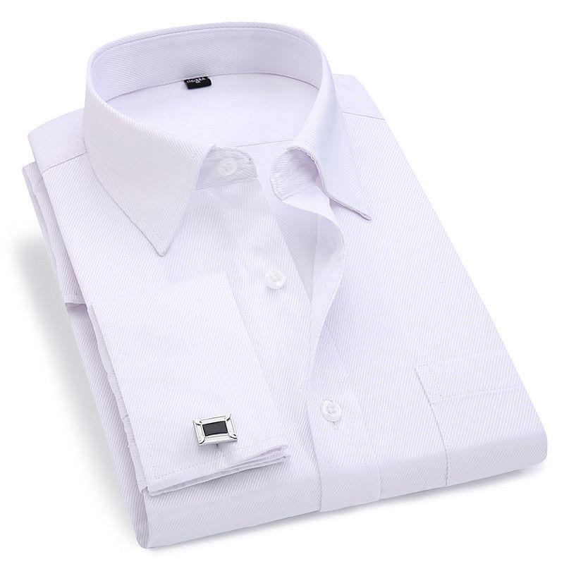 Hommes français boutons de manchette chemise 2019 nouveaux hommes rayures chemise à manches longues décontracté mâle marque chemises Slim Fit français manchette chemises habillées