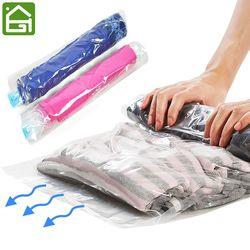 1 unid compresión ropa Bolsas de almacenamiento mano Rolling ropa embalaje al vacío de plástico sacos viajes Space Saver Bolsas para el equipaje