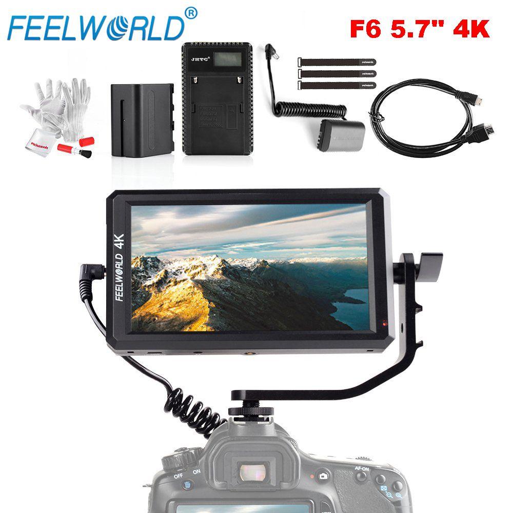 Feelworld F6 5,7 Zoll 1920x1080 IPS LED-Panel Unterstützung 4 Karat Hdmi-eingang Volle HD Auf-Kamera Monitor für Kamera mit Batterie Ultradünne