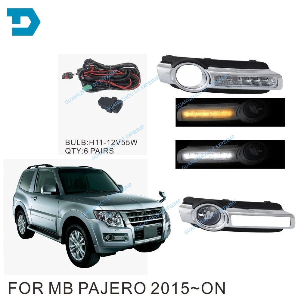 pajero v97 v93 led DAY RUNNING LAMP fog lamp with bulb v98 v87 front fog lamp wire switch turning signal lamp v98 led drl