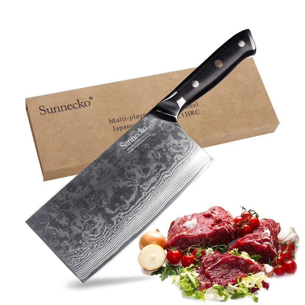 SUNNECKO 7 zoll Cleaver Messer Kochmesser Küchenmesser Japanischen 73-Schicht Damaskus VG10 Stahl Sharp 60HRC G10 Griff cut Werkzeuge